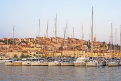 Cityscape of Mali Losinj, Losinj Island, Croatia, with its harbour.  Royalty Free Stock Photo