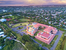 Cityscape of Managua city. In Nicaragua at dusk time aerial view Stock Photo