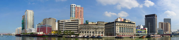 Cityscape of Manila, Philippines. Manila, Philippines - May 11, 2015. Cityscape view from the large semicircular gun platform in Fort Santiago, Intramuros Stock Photo