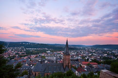 Cityscape of Marburg at sunset Royalty Free Stock Photography