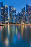 Cityscape at Marina Bay Business District  twilight Royalty Free Stock Images