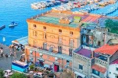 Cityscape of Marina Grande with houses and port in Sorrento. Tyrrhenian sea, Amalfi coast, Italy Royalty Free Stock Photo