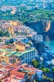 Cityscape of Marina Grande with houses and port Sorrento. Cityscape of Marina Grande with houses and port, Sorrento, Tyrrhenian sea, Amalfi coast, Italy Stock Image