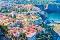 Cityscape of Marina Grande with houses and port at Sorrento. Tyrrhenian sea, Amalfi coast, Italy Stock Image