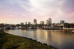 Cityscape and marina view from the Los Angeles harbor Royalty Free Stock Images