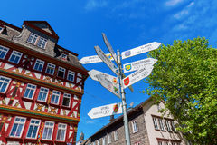 Cityscape at the market square in Herborn, Germany Royalty Free Stock Photos