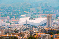 Cityscape of Marseille, France. Urban background. With sport Velodrome stadium. Stade Velodrome Royalty Free Stock Photo