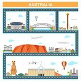 Cityscape med den berömda monumentet och byggnad av Australien stock illustrationer