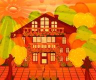 Cityscape med ett hus på en solig dag vektor illustrationer