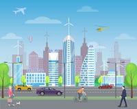 Cityscape med förbipasserande och högväxta skyskrapor vektor illustrationer