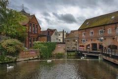 Cityscape med floden Avon i Salisbury, England Royaltyfria Bilder