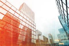 Cityscape med tonade skyskrapor Royaltyfri Foto