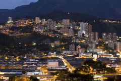 Cityscape of Medellin at night, Colombia Royalty Free Stock Photography