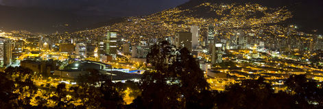 Cityscape of Medellin at night, Colombia Stock Photos