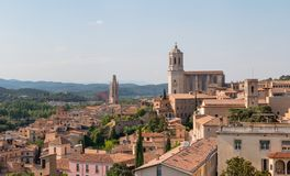 Girona cityscape with the Cathedral of Girona, Spain. royalty free stock images