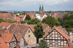 Cityscape of medieval city Quedlinburg. Cityscape of Quedlinburg, medieval city in Germany royalty free stock image
