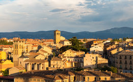 Cityscape of the medieval city of Segovia at dusk Royalty Free Stock Images