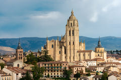 Cityscape of the medieval city of Segovia in Spain Royalty Free Stock Photos