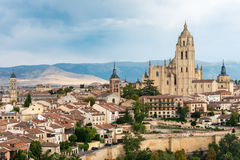 Cityscape of the medieval city of Segovia in Spain Stock Photography