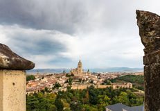 Cityscape of the medieval city of Segovia in Spain Stock Photo