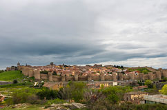 Cityscape and medieval Walls of Avila in Spain Stock Images