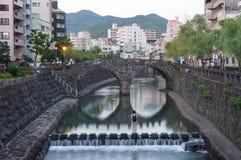 Cityscape at Megane Spectacles Bridge in Nagasaki Japan Royalty Free Stock Photos