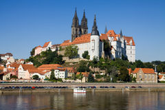 Cityscape of Meissen in Germany. With the Albrechtsburg castle on the Elbe river Royalty Free Stock Photos