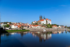 Cityscape of Meissen and river Elbe Royalty Free Stock Photo