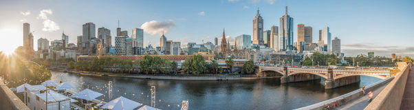 The cityscape of Melbourne city in Victoria state of Australia. Melbourne city the most liveable city in the world in Victoria state of Australia. Panorama view royalty free stock photography