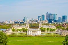 Cityscape Mening van Greenwich van Londen Stock Afbeeldingen