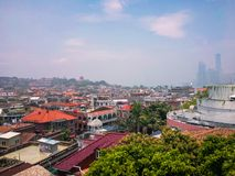 Cityscape mening van kleine stad in stad royalty-vrije stock foto's