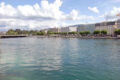 Cityscape Mening van Meer Genève, Zwitserland Stock Foto's