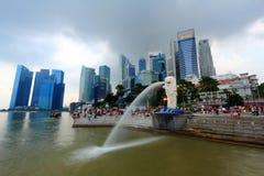 Cityscape Merlion van Singapore Stock Foto's