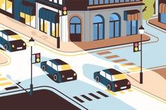 Cityscape met auto's het drijven langs weg, mooie gebouwen, kruispunt met verkeerslichten en voetcrossings of stock illustratie