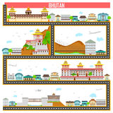Cityscape met beroemd monument en de bouw van Bhutan vector illustratie