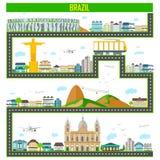 Cityscape met beroemd monument en de bouw van Brazilië royalty-vrije illustratie