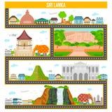 Cityscape met beroemd monument en de bouw van Sri Lanka stock illustratie