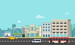 Cityscape met bushalte, auto's en mensen Bedrijf op straat met stadsachtergrond De vector van de stadsscène stock illustratie