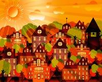 Cityscape met gebouwen en de herfstbomen stock illustratie