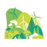 Cityscape met groene heuvels Behoud van het milieu, ecologie, alternatieve energiebronnen royalty-vrije illustratie