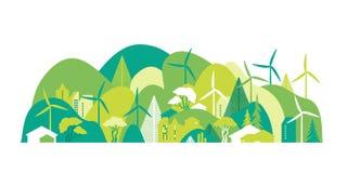 Cityscape met groene heuvels Behoud van het milieu, ecologie, alternatieve energiebronnen vector illustratie