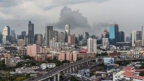 Cityscape met het inbouwen van stad van Bangkok Royalty-vrije Stock Foto