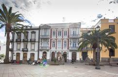 Cityscape met huizen in Las Palmas, Gran Canaria, Spanje Stock Afbeeldingen