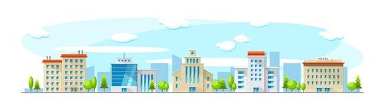 Cityscape met oude en moderne gebouwen Vector vlakke stadsillustratie royalty-vrije illustratie