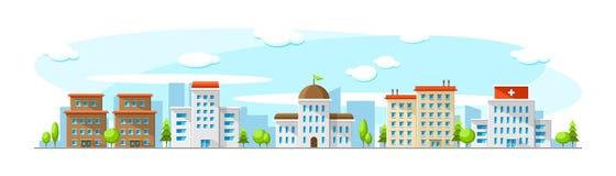 Cityscape met oude en moderne gebouwen zoals het ziekenhuis, het parlement, bureau en school Vector vlakke stadsillustratie vector illustratie