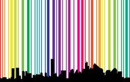 Cityscape met spectrumachtergrond Royalty-vrije Stock Afbeeldingen