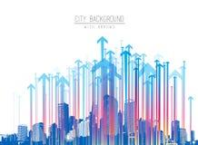Cityscape met wolkenkrabbers en kleurrijk pijlpatroon Stock Fotografie