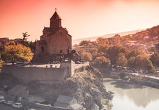 Cityscape with Metekhi and Tbilisi Royalty Free Stock Images
