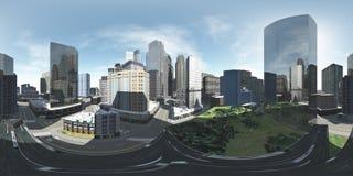 Cityscape milieukaart HDRI-kaart stock foto's