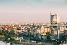 Cityscape of Minsk, Belarus. Summer season, sunset Royalty Free Stock Photos